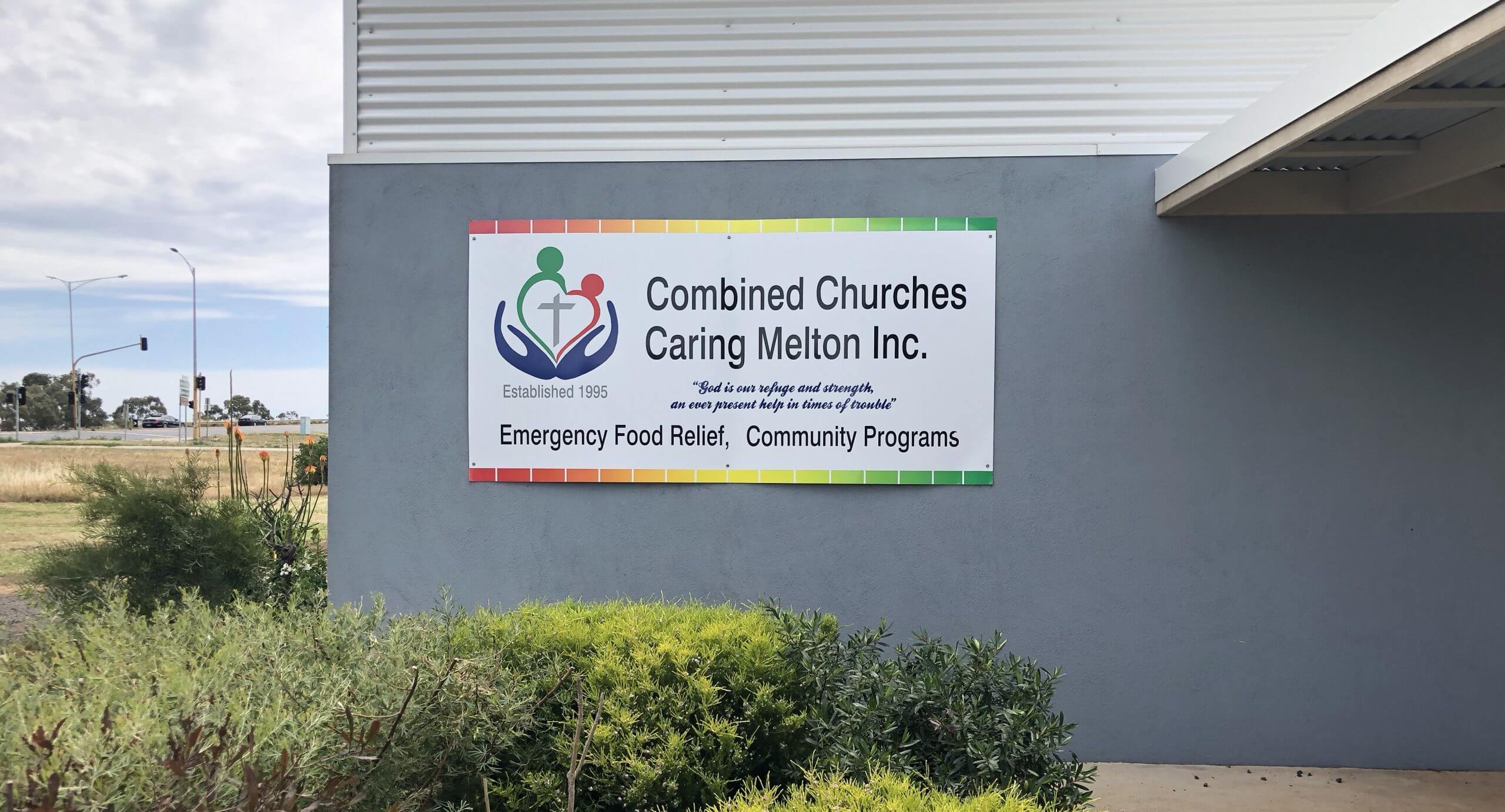 Combined Churches Caring Melton - CCCM Building with sign