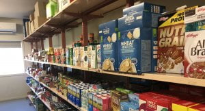 Food shown on shelves in the Foodbank