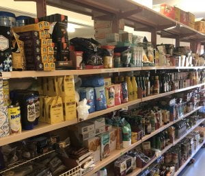 Food on shelf in foodbank